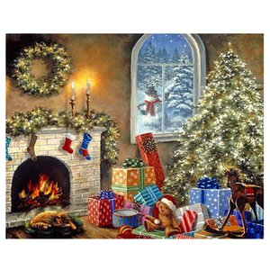 Wholesale 5D Christmas Tree Diamond Painting Hobbies and Crafts Home Decor DIY Landscape Diamond Embroidery Cross Stitch Needlework Gift