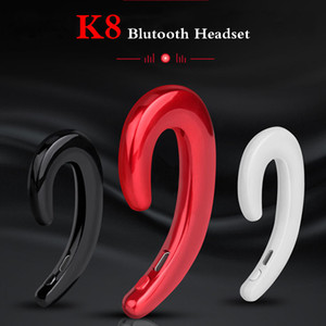 Wholesale K8 wireless bluetooth headphones Business Earphone Car Hands free Mic Bone Conduction headset No Earplugs Earbuds For iphone Samsung package