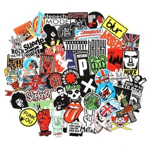 Wholesale 100Pcs Rock and Roll Music Band Punk Stickers Pack Vinyl Waterproof Stickers for Electronic Organ Guitar Piano Violin Drum kit Brass Decals