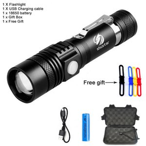 CREE XML-T6 LED Flashlight Torch 3800Lumens zoomable led torch For 18650 battery aluminum+USB charger+Gift box+Free gift