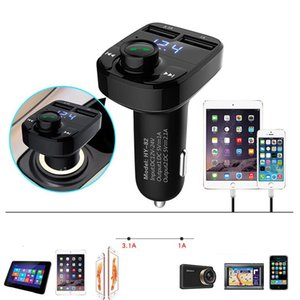 Wholesale Car MP3 Audio Player Bluetooth Car Kit FM Transmitter Handsfree Calling V A Dual USB Car Charger Phone Charger Auto Speakerphone
