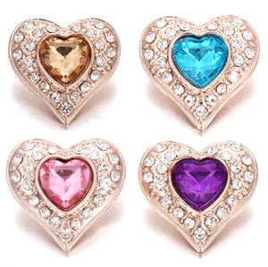 Wholesale 10Pcs New Rose Gold Snap Button Jewelry Rhinestone Crystal Love Heart Snap Button for MM Snap Bracelet Love Jewelry