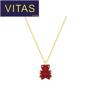 Wholesale Vitas SWA sterling silver necklace fashion elegant necklace red zircon cute bear pendant star couple holiday gift