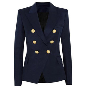 New Fashion Blazer Jacket Women's Double Breasted Metal Lion Buttons Blazer Outer