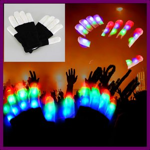 Wholesale LED Flash Gloves Five Fingers Light Ghost Dance Black Bar Stage Performance colorful Rave Light Finger Lighting Gloves Glow Flashing ktv