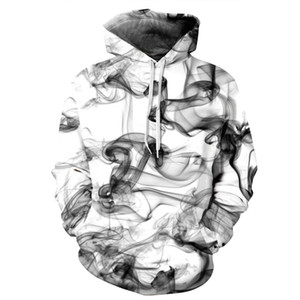 Wholesale Elegant Smoke pattern D digital printing thin Hoodie General Unisex plush Lovers Spring Sweatshirts Loose type Baseball jackets Plus size