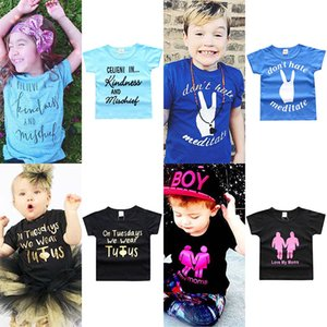 Wholesale INS Baby KIND AND BRAVE letter print T shirts children girls boys print tops summer Tees new Boutique kids Clothing colors C3886