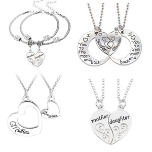 Wholesale mother daughter pendants necklaces for sale - Group buy Gifts For Her Mom Daughter Mother Presents Family Heart Pendant Chain Necklace For Women Jewelry Heart Charm