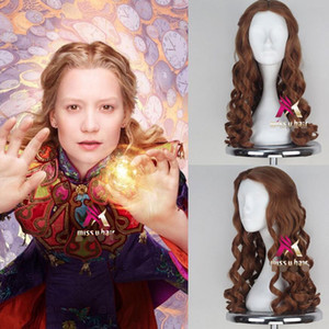 ePacket free shipping >Alice in Wonderland Alice Wig Women Long Brown Curly Cosplay Party Wig