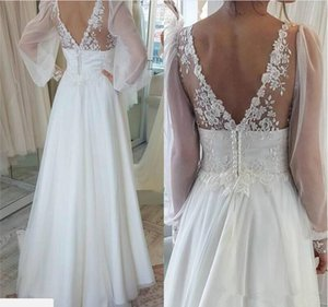 Wholesale beautiful detailed wedding dresses resale online - Beautiful V Neck Lace Puffy Garden Wedding Dresses Boho Long Sleeve Sheer Bohemian Arabic Plus Size vestido de noiva Bridal Gown Ball Bride