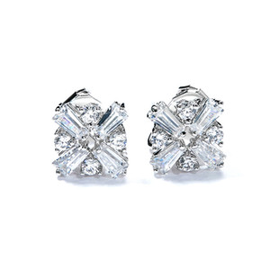 Wholesale High Quality Fashion Cubic Zircon Flower Shape Designer Clip Earring Without Hole For Office Ladies Best Jewelery Bijoux Gift