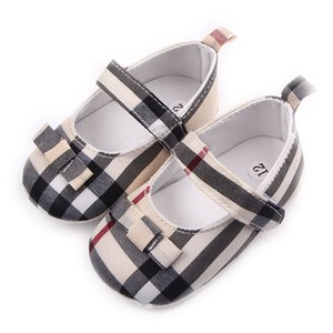 Wholesale Children Kids Girls Grid Bowknot Shoes First Walkers Bebes Zapatos Ninas Newborn Baby Toddlers Shoes