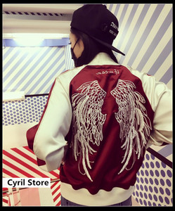 Wholesale Kpop BTS Spring autumn loose Angel wing embroidery zipper baseball clothes korean baseball sweatshirt Hip hop harajuku tops