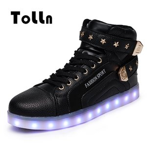 Wholesale LED Lighted Shoes For Adults Men Casual Shoes LED Glowing High Top Colors Krasovki Femme Shoes LED Neon Basket Mens