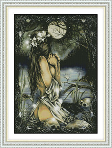 Women and the full moon home decor paintings ,Handmade Cross Stitch Embroidery Needlework sets counted print on canvas DMC 14CT  11CT