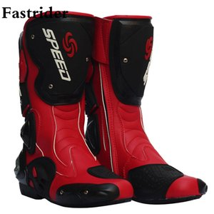 Wholesale Fastrider leather motorcycle boots Pro Biker SPEED Racing And caes long boots high quality for riding men women shoes