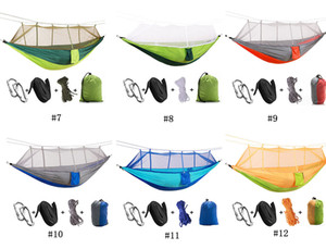 Wholesale Hot Travel Double Hammock Chair with Mosquito Net Light Nylon Garden Swing Hanging Camp Air Tent Outdoor Furniture Bed