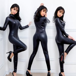 Wholesale Sexy lingerie sexy uniform temptation jumpsuit with long zipper large leather body shaping patent leather policewoman