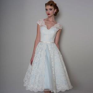 50s Vintage Short Wedding Dress Cap Sleeve V Neck Lace A Line Tea Length Bridal Gowns vestido de noiva Custom Size