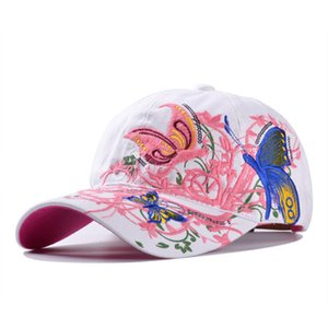 2017 New Fashion Flower Women Hats Embroidered Baseball Hat Hip Hop Butterfly Embroid Snapback Cap wholesaleery Black Whiter