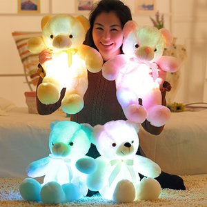 Wholesale Tie Teddy Bear Rag Doll Plush Toys Led Seven Color Light Luminous Kids Adult Christmas Toys Party Favor np gg