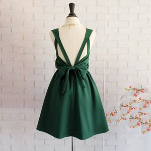 Forest Green short party dresses mini cocktail dress sexy backless homecoming dress real simple short bridesmaid dresses plus size on Sale