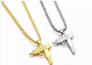 Wholesale 2018 New Uzi Gold Chain Hip Hop Long Pendant Necklace Men Women Fashion Brand Gun Shape Pistol Pendant Maxi Necklace HIPHOP Jewelry