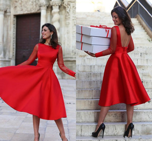 Wholesale Tea Length Red Party Evening Dresses Backless Cheap With Long Sleeves Illusion Satin A line Prom Homecoming Formal Dress Gowns
