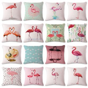 Comfortable Pillowcase Pink Watercolor Flamingo Throw Pillows Covers Creative Nordic Style Pillow Case Home Sofa Decor Many Styles 5bs CB on Sale