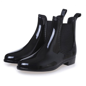 Wholesale New Spring winter boots brand design ankle boots rain boots elastic band shoes woman solid rubber waterproof flats cd609