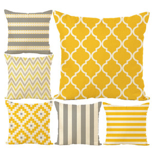 Wholesale New Pillowcase Hot Colorful Geometric Striped Pillow Case Linen Pillow Cover Yellow Gingham Cotton Sofa Cushion Cover Home Textile