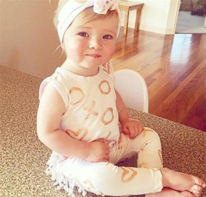 Wholesale Cute baby Tassel Rompers Newborn Kids Baby Girl Sleeveless Romper heart zero Print Jumpsuit bowknot Headbands set Outfit Clothes