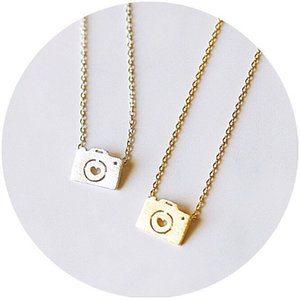 Wholesale camera photographs for sale - Group buy 10pcs Gold Silver Love Camera Necklaces Cute Photographs Pictures Shooting Clavicle Jewelry Accessory Necklaces for Favors