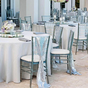 Wholesale ivory lace chair cover sashes resale online - Silver Sequined Wedding Chair Sashes Size cm Custom Made Wedding Party Decor Dazzling Chair Bows Chair Covers Customize