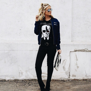 Women's Tops Brand Fashion Shirts New Cool Skeleton Head Printed Tee In Black Zombie Skull Punk Rock Cotton Shirts Women