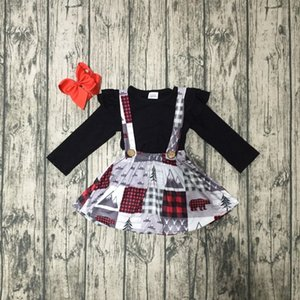 Wholesale Fall winter baby girls clothes cotton halter top black grey Christmas tree Button Straps dress boutique ruffles match clip bow