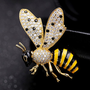 Wholesale New Jet Yellow Enamel Bee Brooches Jewelry For Men Brand Cubic zircon Pin Brooch Fashion Men s Wedding Jewelry Insect Hijab Pin