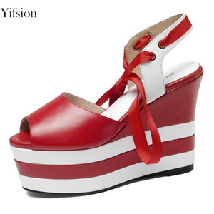 Wholesale Yifsion New Stylish Women Platform Sandals Wedges High Heel Sandals Peep Toe Black Blue Red Prom Women Shoes US Plus Size