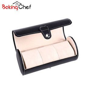 BAKINGCHEF 3 Grid Cylinder Men Watch Display Storage Boxes Bins Portable Women Travel Wristwatch Holder Container Accessories