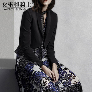 Wholesale Autumn Suit Female New Style of Yuan Black Body Show Thin Coat Fashion Printing Big Pendulum Skirt Long Skirt Two piece Set