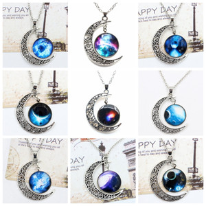 Wholesale Starry Sky Night Camo Pendants Necklace With Moon Face Starry Eye Dark Universe Charms Clavicle Chain Necklace Birthday Gift Styles