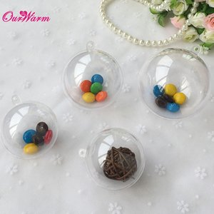 Wholesale 100pcs mm Plastic Ball Chocolate Box Wedding Gift Boxes Bags Transparent Acrylic Party Wedding Tree Decoration Supplies