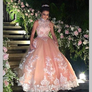 Elegant High Neck Lace Quinceanera Dresses Tulle Lace Applique Beaded Ball Gowns Floor Length Prom Party Princess Dresses BA4931 on Sale
