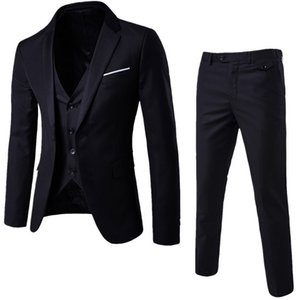 NIBESSER Mens 3 Pieces Blazers Pants Vest Social Suit Men Fashion Solid Business Suit Set Casual Mens Formale Suits Plus Size5XL