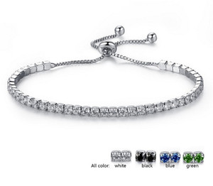 Wholesale Wedding Crystal Adjustable Link Chain Bracelets Bangles For Women zirconia White Gold color Romantic Charm Bracelets Jewelry