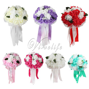 Wholesale Foam Rose Wedding Bouquet Lace Edging Leaves Stamen Silk Ribbon Diamante Pearls Holding Flower Decoration New