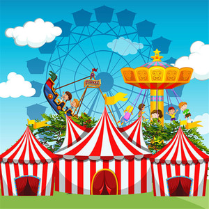 Wholesale Cartoon Amusement Park Circus Photography Background for Children Printed Blue Sky Clouds Baby Kids Birthday Party Photo Booth Backdrop