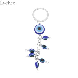 Wholesale Lychee Trendy Alloy Evil Eyes Key Chains Animal Shape Crystal Keychains Crafts Unisex Keyring for Men Women