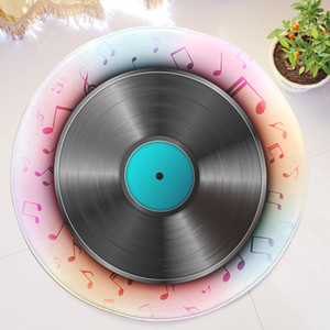 Wholesale Music Disc Printed Flannel Roud Carpets For Living Room Decor Anti slip Kids Bedroom Round Rug Door Mats Office Chair Floor Mats