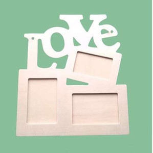 Wholesale DIY Photo Frame Hollow Love Wooden Family Photo Picture Frames Blank DIY Paint Picture Photo Frame Home Art Decor